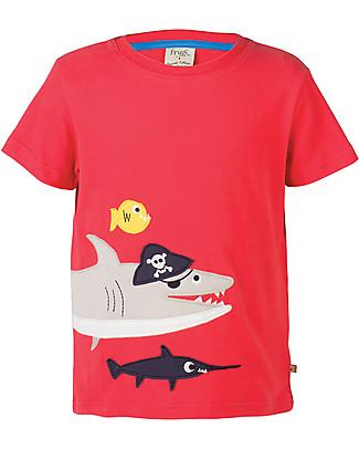 Frugi T-Shirt James, Rosso/Squalo - 100% cotone bio T-Shirt e Canotte