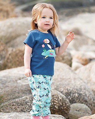 Frugi T-Shirt Little Creature, Blu/Puffino - 100% cotone bio Top