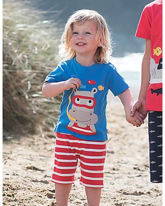 Frugi T-Shirt Little Creature, Celeste/Ippopotamo - 100% cotone bio T-Shirt e Canotte
