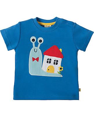 Frugi T-Shirt Little Creature, Celeste/Lumaca - 100% cotone bio T-Shirt e Canotte