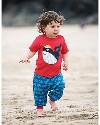 Frugi T-Shirt Little Creature, Rosso/Balena - 100% cotone bio T-Shirt e Canotte