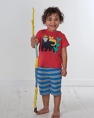 Frugi T-Shirt Little Creature, Rosso/Scimmia - 100% cotone bio Top