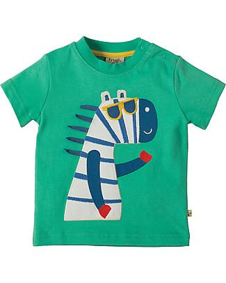 Frugi T-Shirt Little Polkerris, Applique Zebra - 100% cotone bio T-Shirt e Canotte