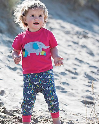 Frugi T-Shirt Little Polkerris, Lampone/Elefante - 100% cotone bio T-Shirt e Canotte