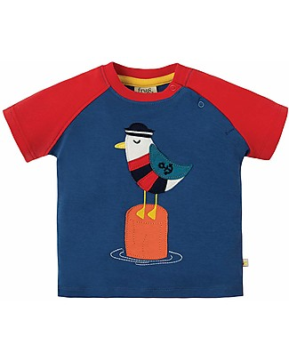 Frugi T-Shirt Renny Raglan, Marine Blue/Seagull - 100% cotone bio T-Shirt e Canotte
