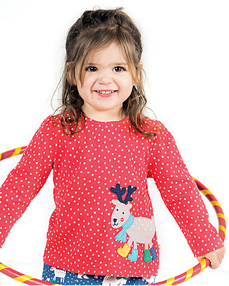 Frugi Top Bimba Connie con Applique, Pois/Renna con Stivali - 100% cotone bio Top