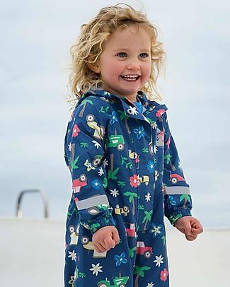Frugi Tuta Impermeabile Puddle Buster Suit, Marine Blue Tractors - 100% materiale riciclato! Giacche