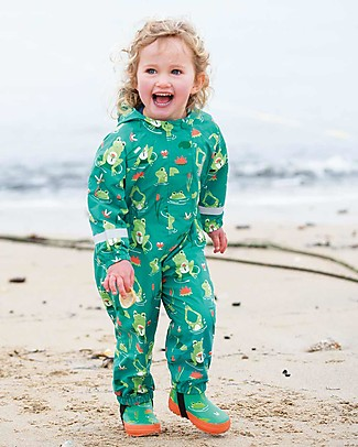 Frugi Tuta Impermeabile Puddle Buster Suit, Samson Green Frog Pond - 100% materiale riciclato! Giacche