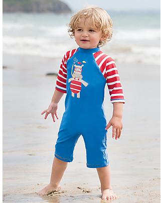 Frugi Tutina Costume da Mare, Celeste con Ippopotamo - Protezione solare SPF 50+! Tutine Lunghe Senza Piedi