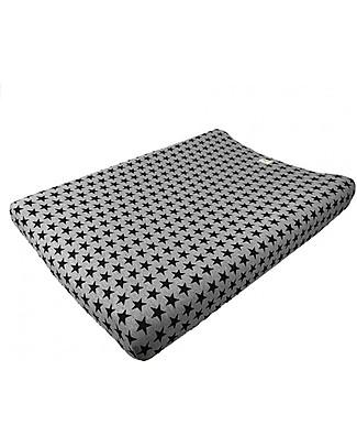 Fun*das bcn Cover per Fasciatoio 80 x 50 cm, Black Star – Cotone elasticizzato Coprifasciatoi e Imbottiture