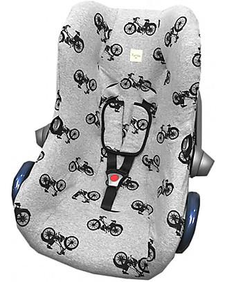 Fun*das bcn Cover per Seggiolino Auto Maxi-Cosi Cabriofix, Black Bikes - Cotone elasticizzato Accessori Seggiolini Auto