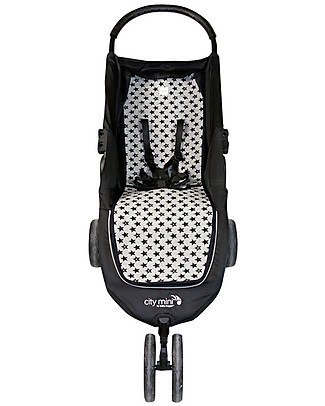 Fun*das bcn Materassino per Passeggino Baby Jogger City Mini, Fun Black Star - Cotone elasticizzato Accessori