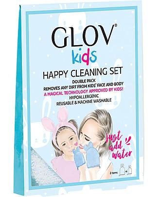 Glov Glov Kids Set con Bordo Rosa, Pulisce il Viso - per Mamma e Figlia Viso