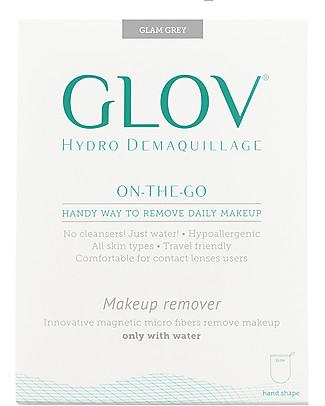 Glov Glov On The Go, Guanto Struccante in Microfibra, Grigio - Strucca senza usare detergenti!  Viso