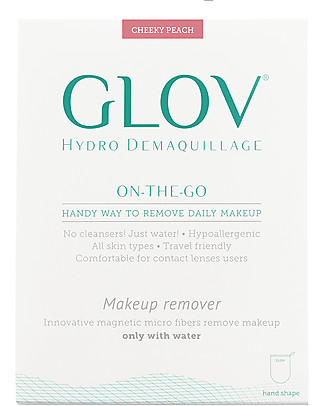 Glov Glov On The Go, Guanto Struccante in Microfibra, Pesca - Strucca senza usare detergente!  Viso