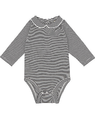 Gray Label Body Manica Lunga con Colletto, Righe Bianco/Nero - Jersey di Cotone Bio Body Manica Lunga