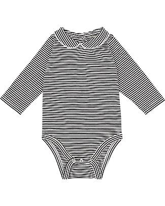 Gray Label Body Manica Lunga con Colletto, Righe Bianco/Nero - Jersey di Cotone Bio Body Manica Lunga
