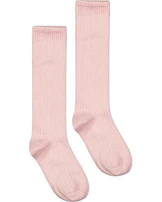 Gray Label Calzini Lunghi a Costine, Vintage Pink - Cotone bio elasticizzato Calzini