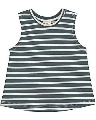 Gray Label Canotta Baby a Righe, Blu Grigio - 100% jersey di cotone bio T-Shirt e Canotte
