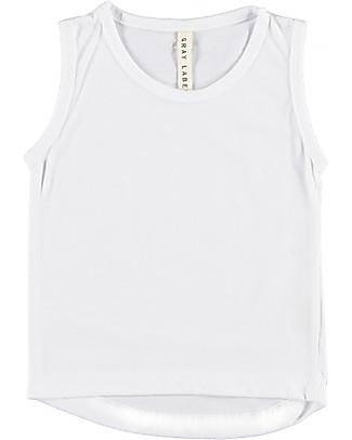 Gray Label Canotta Spalle Larghe con Bordo Arrotondato, Bianco (18-24 mesi) - 100% cotone bio  T-Shirt e Canotte