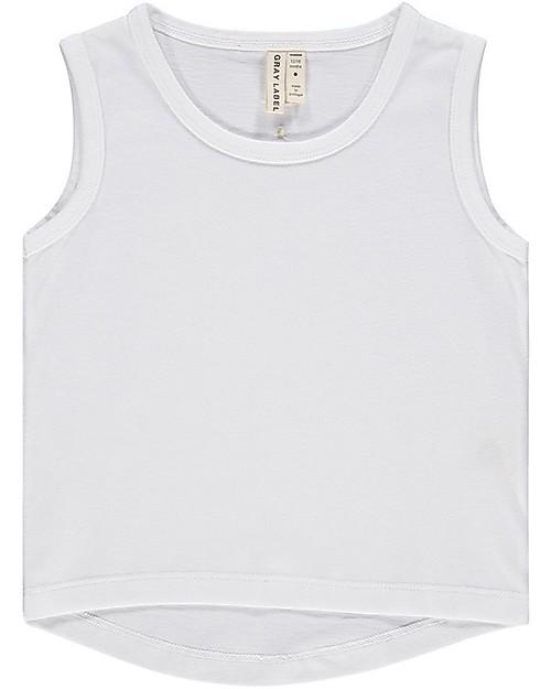 Gray Label Canotta Spalle Larghe con Bordo Arrotondato, Bianco (dai 2 anni in su) - 100% cotone bio T-Shirt e Canotte