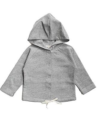 Gray Label Cardigan Baby con Cappuccio, Grigio Melange - 100% cotone felpato italiano bio Felpe