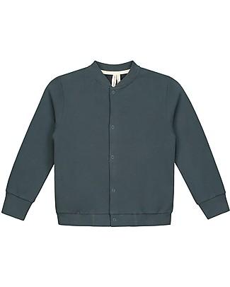 Gray Label Cardigan Baseball Felpato, Blu Grigio (dai 2 anni in su) - 100% cotone bio italiano - Morbido e caldo Cardigan