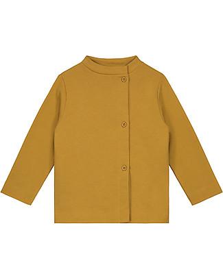 Gray Label Cardigan Felpato Asimmetrico, Senape (dai 2 anni in su) - 100% cotone bio italiano - Morbido e caldo Cardigan
