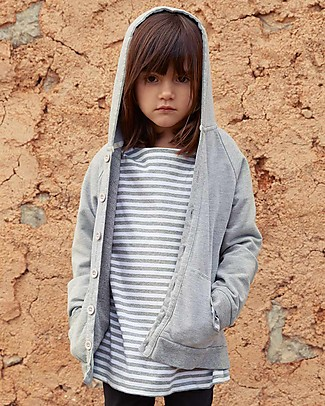 Gray Label Cardigan Felpato con Cappuccio, Grigio Melange - 100% Cotone Bio Morbidissimo - 2/4 anni Felpe