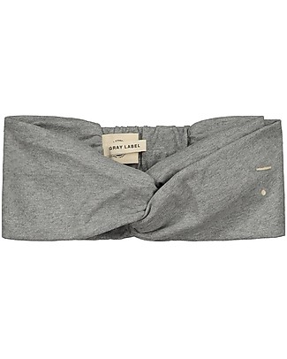 Gray Label Fascia per Capelli Bimba, Grigio Melange (0-2 anni) - 100% cotone bio Fermacappelli