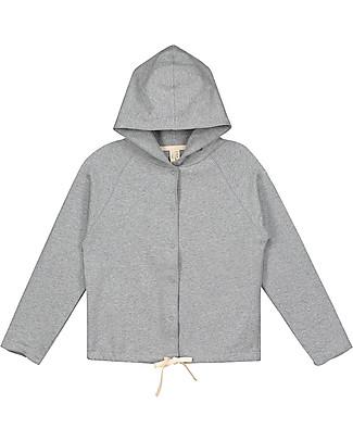 Gray Label Felpa con Cappuccio e Bottoncini Automatici, Grigio Melange - 100% Cotone Bio Morbidissimo Cardigan