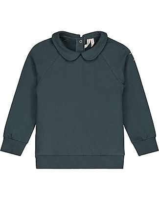 Gray Label Felpa con Colletto, Blu Grigio (Taglie dai 2 anni in su) - 100% Cotone Bio Morbidissimo! Felpe