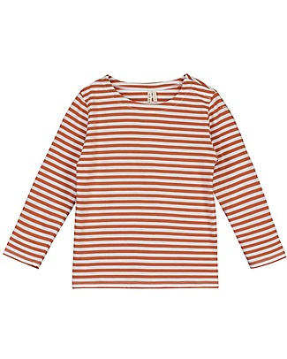 Gray Label Long Sleeved Striped Tee, Red Earth/Off White - 100% organic cotton jersey - 18/24 months Long Sleeves Tops