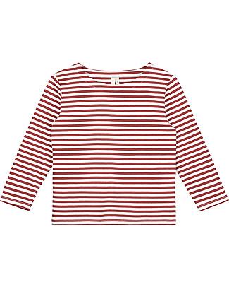 Gray Label Maglia Maniche Lunghe, RIghe Bianco/Burgundy - 100% jersey di cotone bio Maglie Manica Lunga