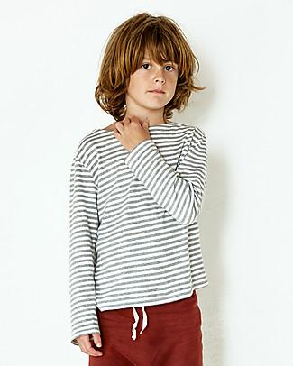 Gray Label Maglia Maniche Lunghe, RIghe Bianco/Grigio Melange - 100% jersey di cotone bio Maglie Manica Lunga