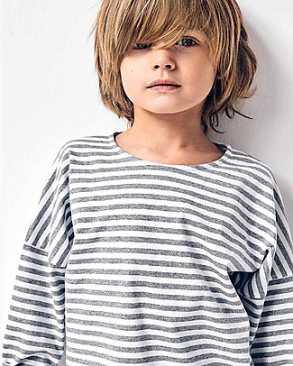 Gray Label Maglia Maniche Lunghe Spalla Scesa, Righe Grigio Melange/Bianco (dai 2 anni in su) - 100% cotone bio Maglie Manica Lunga