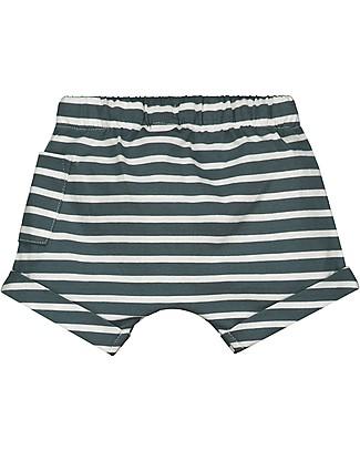Gray Label Pantaloncini Baby con Coulisse, Righe Blu Grigio - 100% jersey di cotone bio Pantaloni Corti