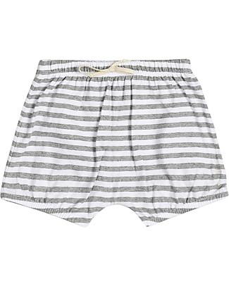 Gray Label Pantalone a Palloncino Copripannolino Bloomer, Righe Grigio Melange/Bianco - 100% jersey di cotone bio Pantaloni Corti