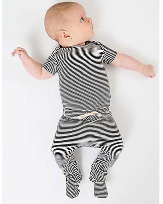 Gray Label Pantaloni Baby con Piedini, Righe Bianco/Nero - Cotone Bio Pantaloni Lunghi