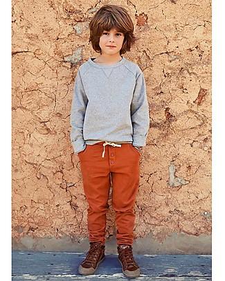 Gray Label Pantaloni Chinos con Bottoni, Rosso Terracotta - 100% Cotone Bio Morbidissimo Pantaloni Lunghi