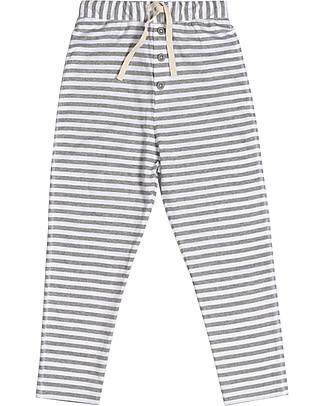Gray Label Pantaloni con Cavallo Basso, Righe Grigio Melange/Bianco - 100% jersey di cotone bio morbidissimo Pantaloni Lunghi
