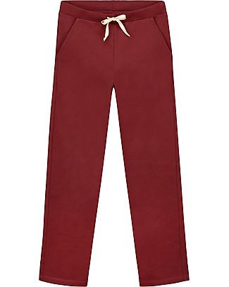 Gray Label Pantaloni Dritti, Burgundy - 100% felpa di cotone bio morbidissimo Pantaloni Lunghi