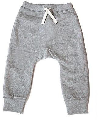 Gray Label Pantaloni Felpati, Grigio Melange - 100% Cotone Bio Morbidissimo - 2/4 anni Pantaloni Lunghi