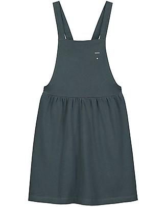 Gray Label Pinafore Dress, Blue Grey (2+ years) - 100% soft organic Italian cotton fleece Dresses