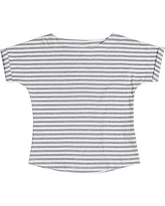 Gray Label T-Shirt Collo Ampio, Righe Grigio Melange/Bianco - 100% jersey di cotone bio T-Shirt e Canotte