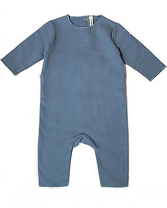 Gray Label Tutina Felpata Blu Denim - 100% Cotone Bio Morbidissimo Tutine Lunghe Senza Piedi