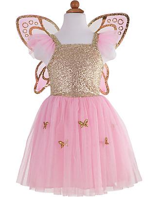 Great Pretenders Costume da Farfalla, Rosa/Oro con Brillantini - Comprende abito e ali! Travestimenti