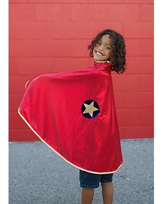 Great Pretenders Mantello per Costume di Carnevale Reversibile, Rosso/Oro - 2 costumi in 1! Travestimenti