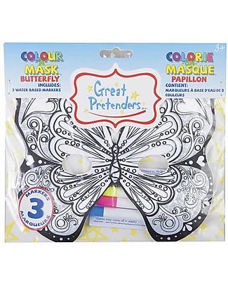 Great Pretenders Maschera Farfalla da Colorare - 3 Pennarelli inclusi Colorare