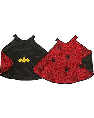 Great Pretenders Set Mantello per Costume di Carnevale Reversibile e Maschera, Ragno/Pipistrello - 2 costumi in 1! Travestimenti